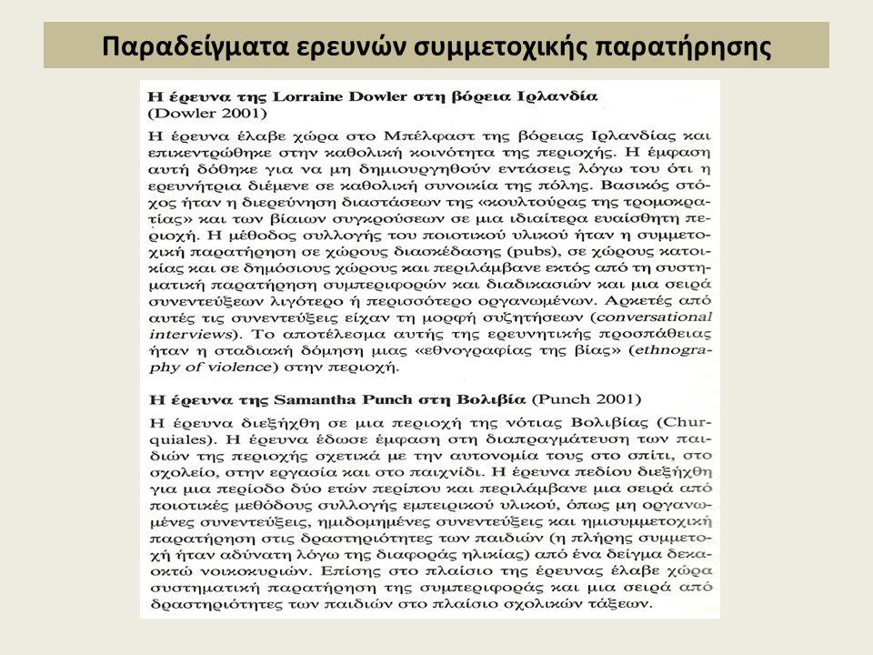 Παράδειγμα ποιοτικής έρευνας: Συμμετέχων ως παρατηρητής (participant as observer) (Ρουμπέση, 2009)