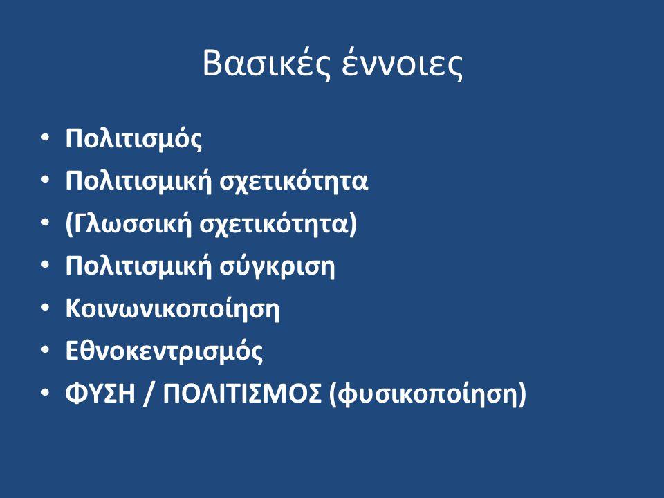 Βασικές έννοιες Πολιτισμός Πολιτισμική σχετικότητα (Γλωσσική σχετικότητα) Πολιτισμική σύγκριση Κοινωνικοποίηση Εθνοκεντρισμός ΦΥΣΗ / ΠΟΛΙΤΙΣΜΟΣ (φυσικοποίηση)