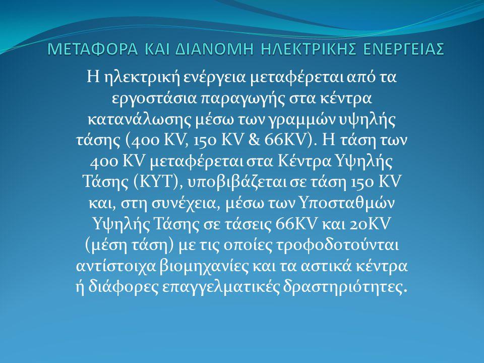 Η ηλεκτρική ενέργεια μεταφέρεται από τα εργοστάσια παραγωγής στα κέντρα κατανάλωσης μέσω των γραμμών υψηλής τάσης (400 KV, 150 KV & 66KV). Η τάση των