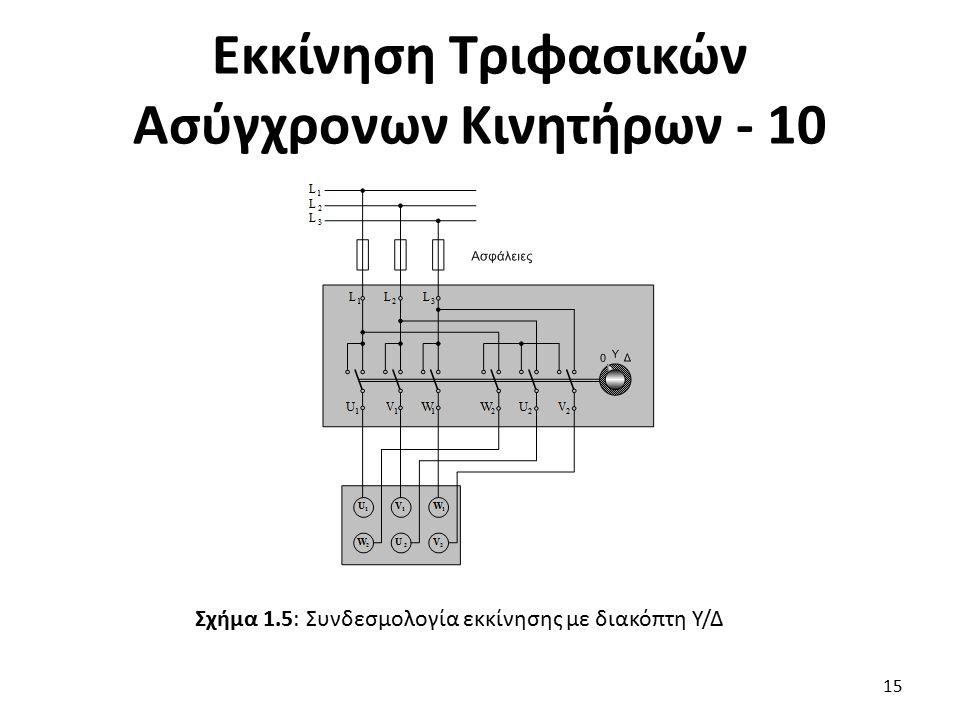 Εκκίνηση Τριφασικών Ασύγχρονων Κινητήρων - 10 15 Σχήμα 1.5: Συνδεσμολογία εκκίνησης με διακόπτη Υ/Δ