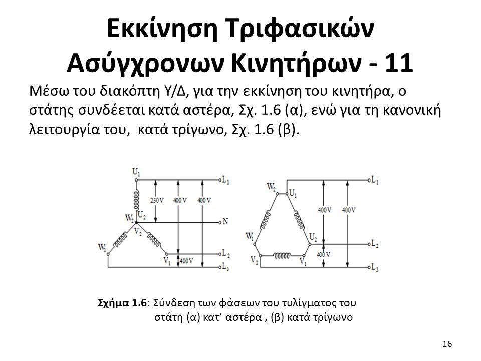 Εκκίνηση Τριφασικών Ασύγχρονων Κινητήρων - 11 Μέσω του διακόπτη Υ/Δ, για την εκκίνηση του κινητήρα, ο στάτης συνδέεται κατά αστέρα, Σχ. 1.6 (α), ενώ γ