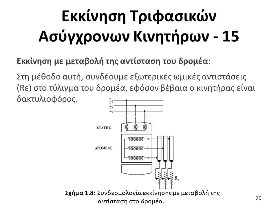 Εκκίνηση Τριφασικών Ασύγχρονων Κινητήρων - 15 Εκκίνηση με μεταβολή της αντίσταση του δρομέα: Στη μέθοδο αυτή, συνδέουμε εξωτερικές ωμικές αντιστάσεις