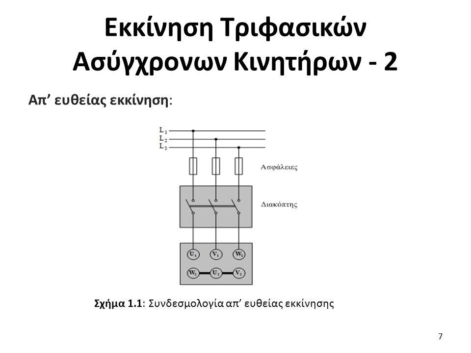 Εκκίνηση Τριφασικών Ασύγχρονων Κινητήρων - 3 Ο απλούστερος τρόπος εκκίνησης τριφασικών κινητήρων, είναι η απ' ευθείας εκκίνηση με τη χρήση μόνο ενός απλού τριπολικού διακόπτη, Σχ.