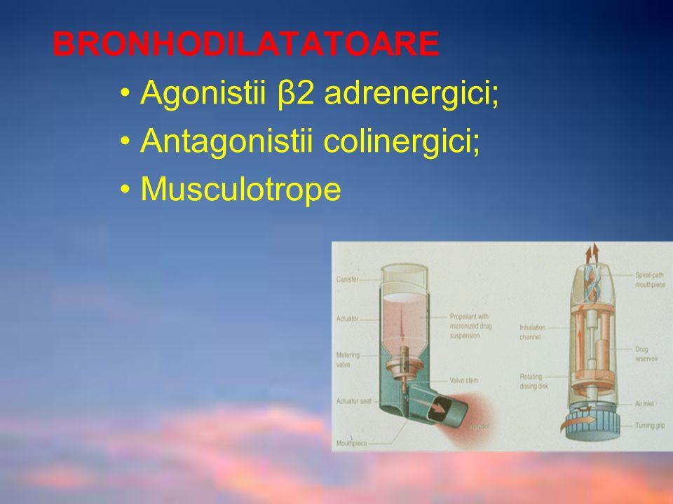 BRONHODILATATOARE Agonistii β2 adrenergici; Antagonistii colinergici; Musculotrope