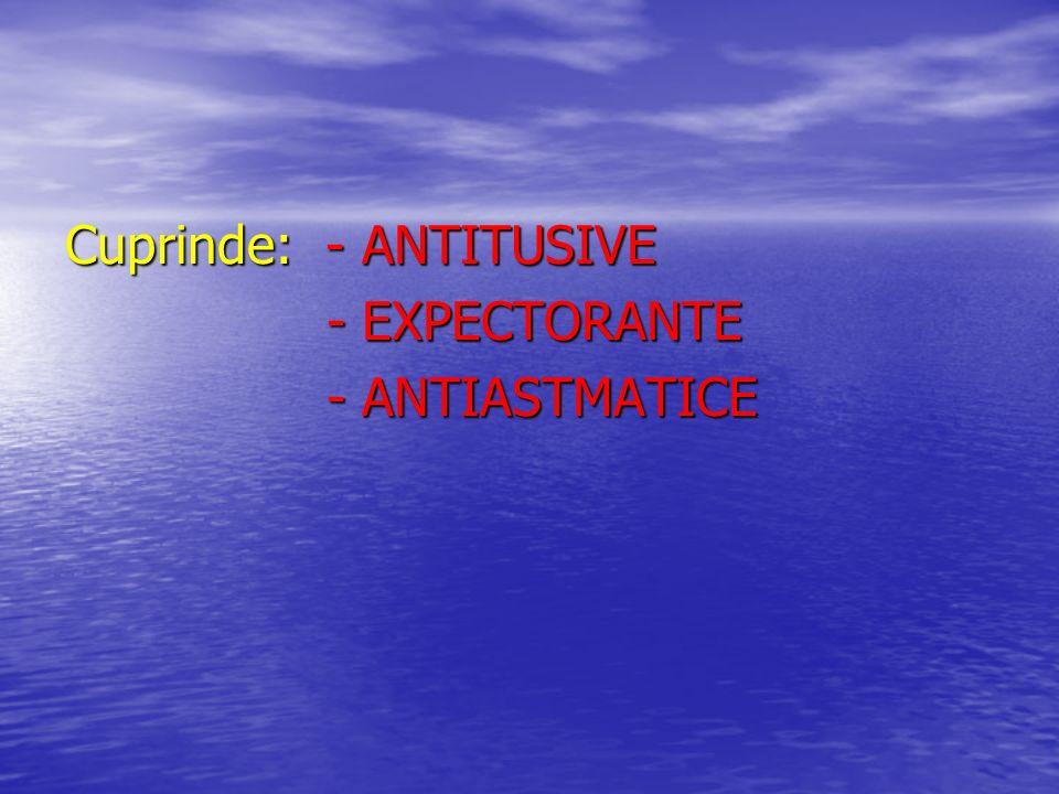 Cuprinde: - ANTITUSIVE - EXPECTORANTE - EXPECTORANTE - ANTIASTMATICE - ANTIASTMATICE