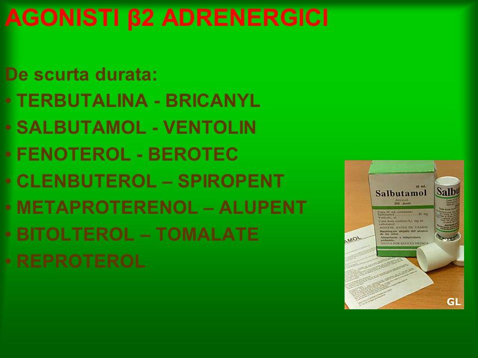 AGONISTI β2 ADRENERGICI De scurta durata: TERBUTALINA - BRICANYL SALBUTAMOL - VENTOLIN FENOTEROL - BEROTEC CLENBUTEROL – SPIROPENT METAPROTERENOL – AL