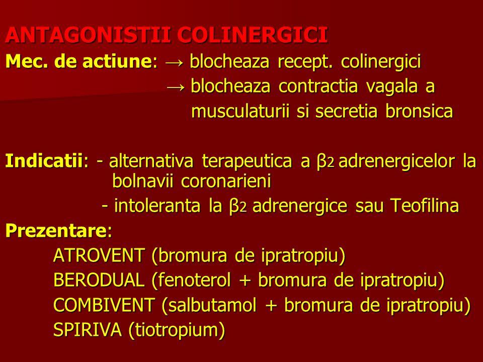 ANTAGONISTII COLINERGICI Mec. de actiune: blocheaza recept. colinergici blocheaza contractia vagala a blocheaza contractia vagala a musculaturii si se