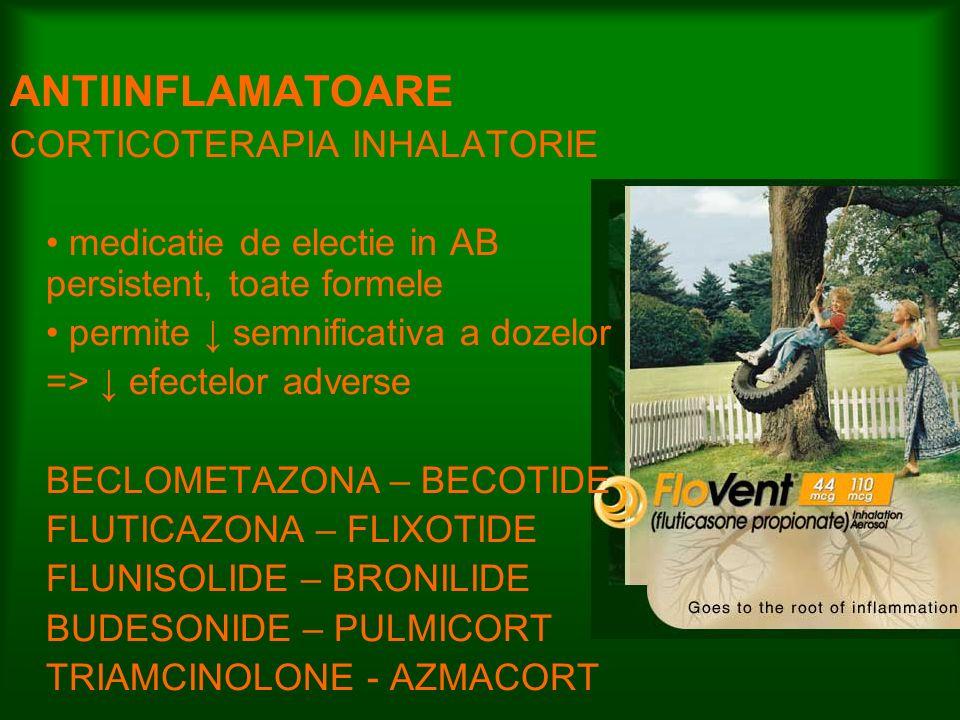 ANTIINFLAMATOARE CORTICOTERAPIA INHALATORIE medicatie de electie in AB persistent, toate formele permite semnificativa a dozelor => efectelor adverse