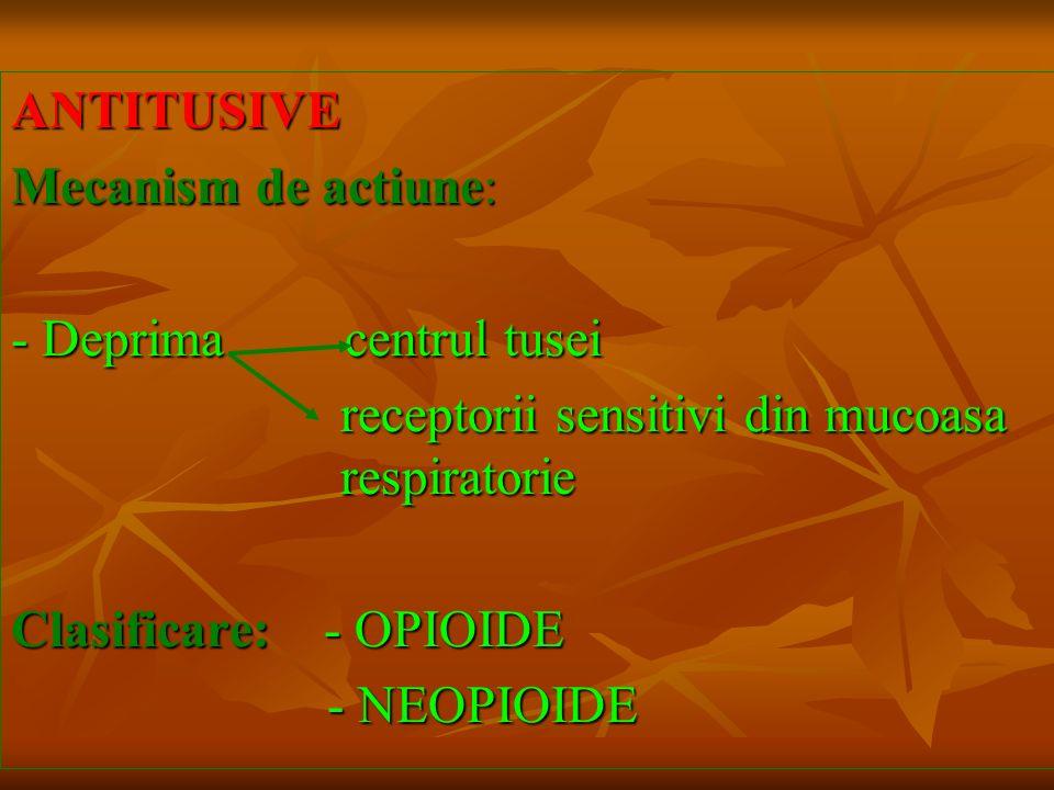 ANTITUSIVE Mecanism de actiune: - Deprima centrul tusei receptorii sensitivi din mucoasa respiratorie receptorii sensitivi din mucoasa respiratorie Cl