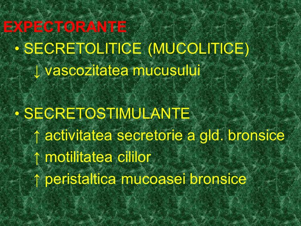 EXPECTORANTE SECRETOLITICE Utilizari terapeutice: bronsita ac./cr.