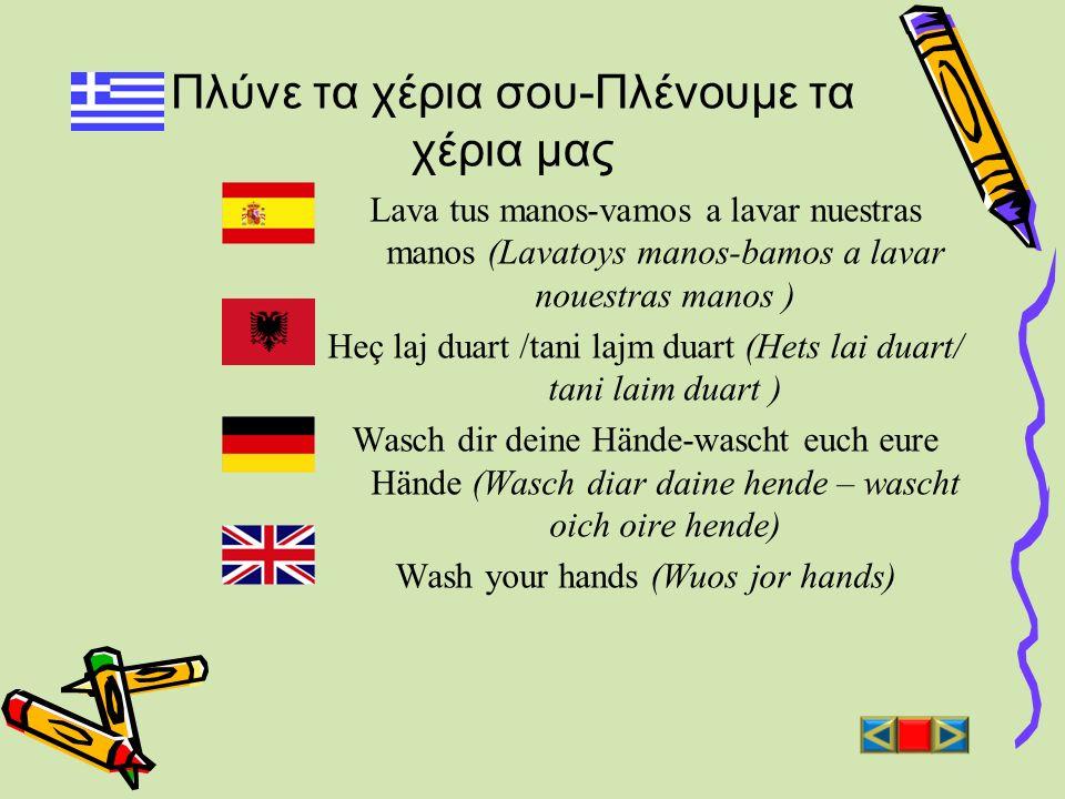 Πλύνε τα χέρια σου-Πλένουμε τα χέρια μας Lava tus manos-vamos a lavar nuestras manos (Lavatoys manos-bamos a lavar nouestras manos ) Heç laj duart /ta