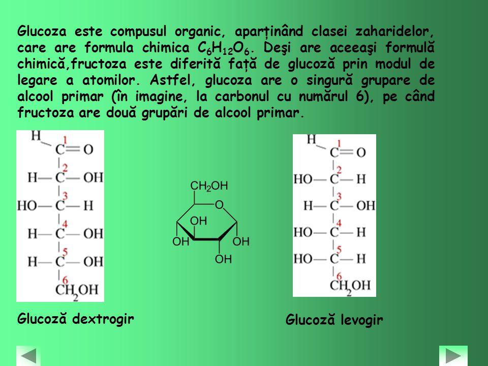 Glucoza este compusul organic, aparţinând clasei zaharidelor, care are formula chimica C 6 H 12 O 6. Deşi are aceeaşi formulă chimică,fructoza este di