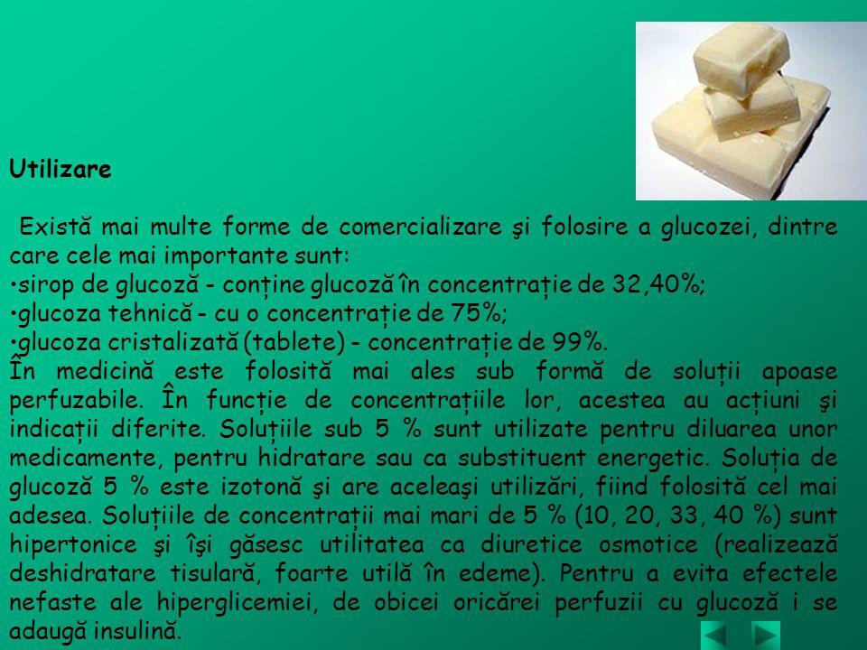 Utilizare Există mai multe forme de comercializare şi folosire a glucozei, dintre care cele mai importante sunt: sirop de glucoză - conţine glucoză în