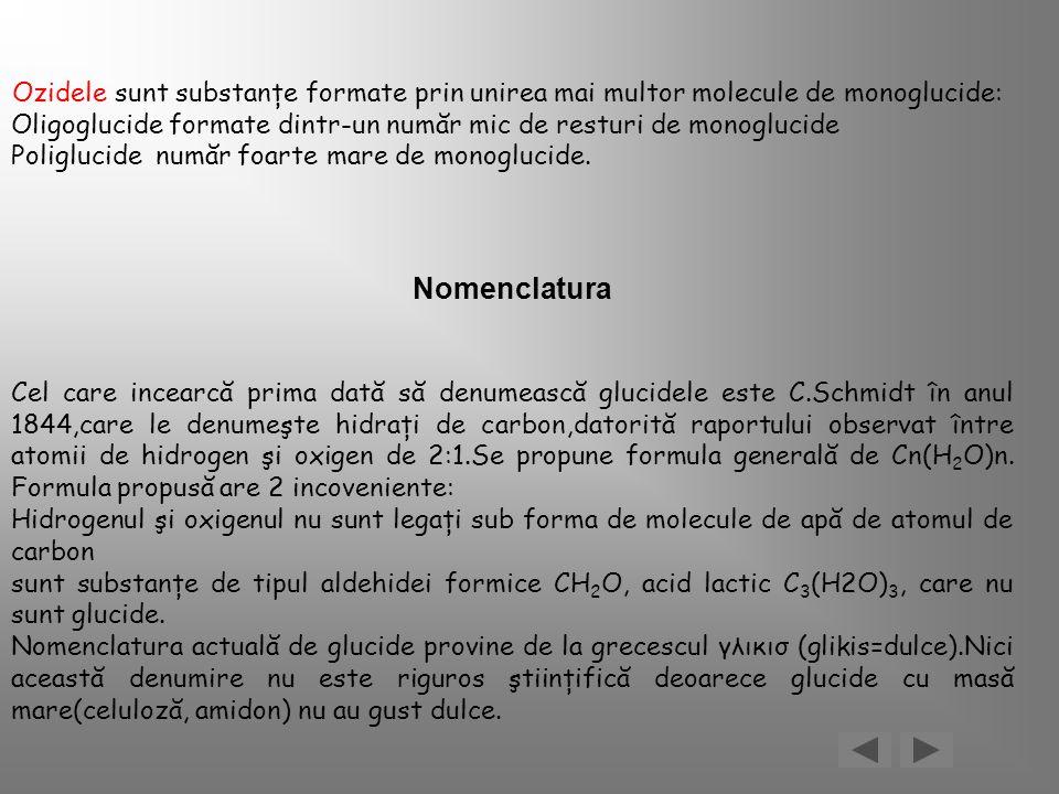Ozidele sunt substanţe formate prin unirea mai multor molecule de monoglucide: Oligoglucide formate dintr-un număr mic de resturi de monoglucide Polig