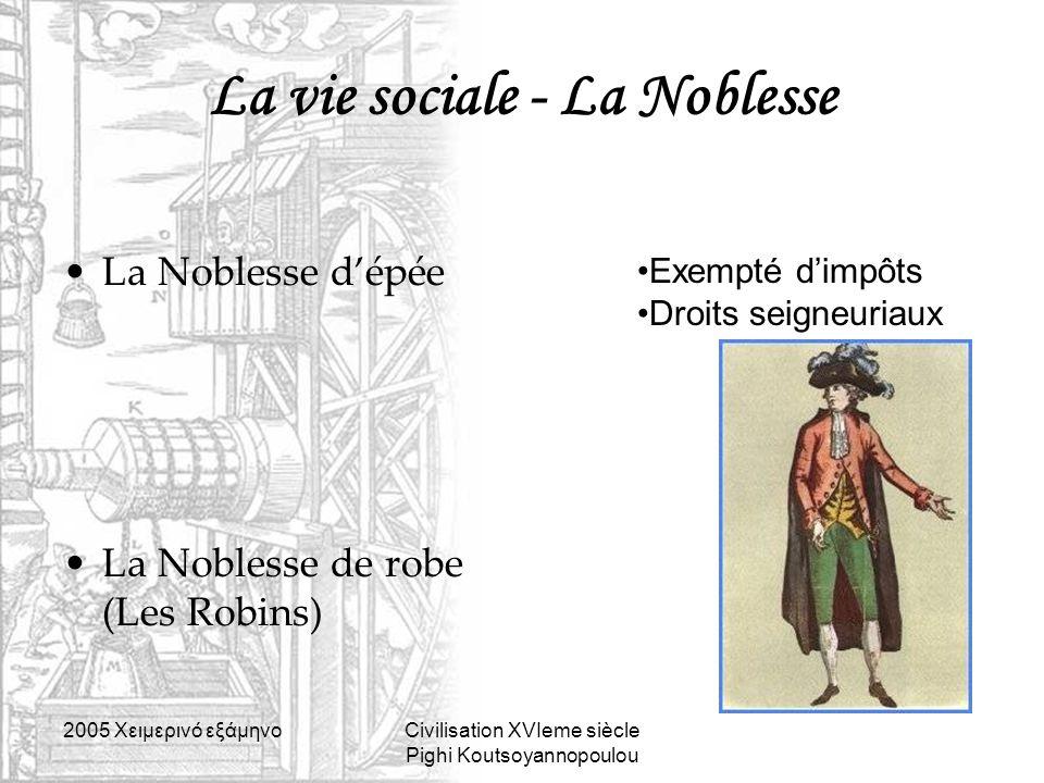 2005 Xειμερινό εξάμηνοCivilisation XVIeme siècle Pighi Koutsoyannopoulou La vie sociale - La Noblesse La Noblesse d'épée La Noblesse de robe (Les Robi