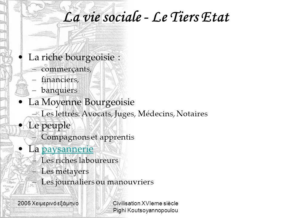 2005 Xειμερινό εξάμηνοCivilisation XVIeme siècle Pighi Koutsoyannopoulou La vie sociale - Le Tiers Etat La riche bourgeoisie : –commerçants, –financie