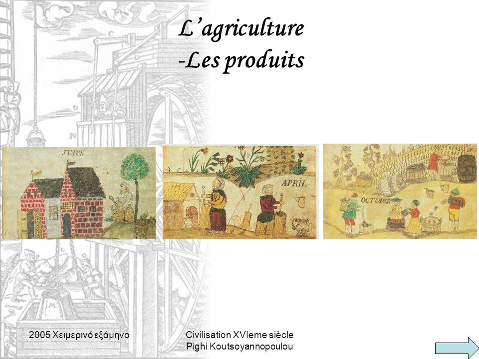 2005 Xειμερινό εξάμηνοCivilisation XVIeme siècle Pighi Koutsoyannopoulou L'agriculture -Les produits