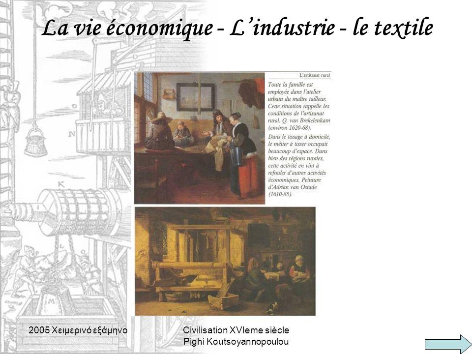 2005 Xειμερινό εξάμηνοCivilisation XVIeme siècle Pighi Koutsoyannopoulou La vie économique - L'industrie - le textile