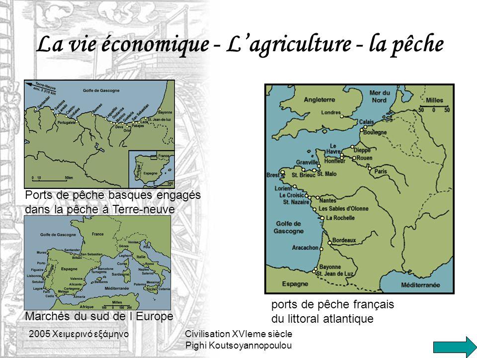 2005 Xειμερινό εξάμηνοCivilisation XVIeme siècle Pighi Koutsoyannopoulou La vie économique - L'agriculture - la pêche Marchés du sud de l Europe Ports