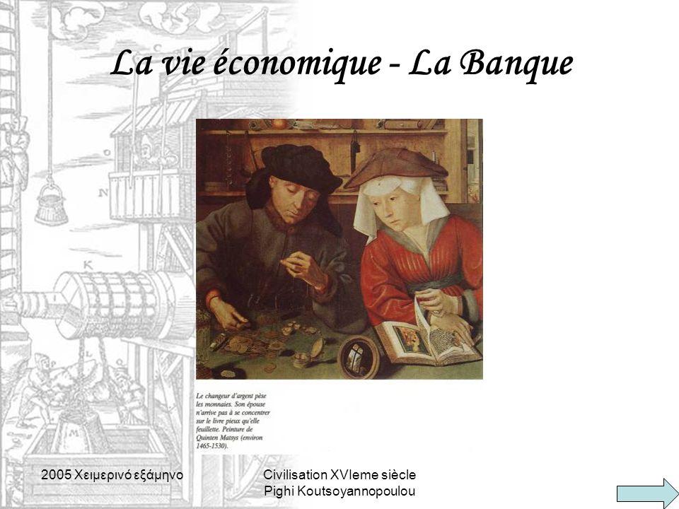 2005 Xειμερινό εξάμηνοCivilisation XVIeme siècle Pighi Koutsoyannopoulou La vie économique - La Banque