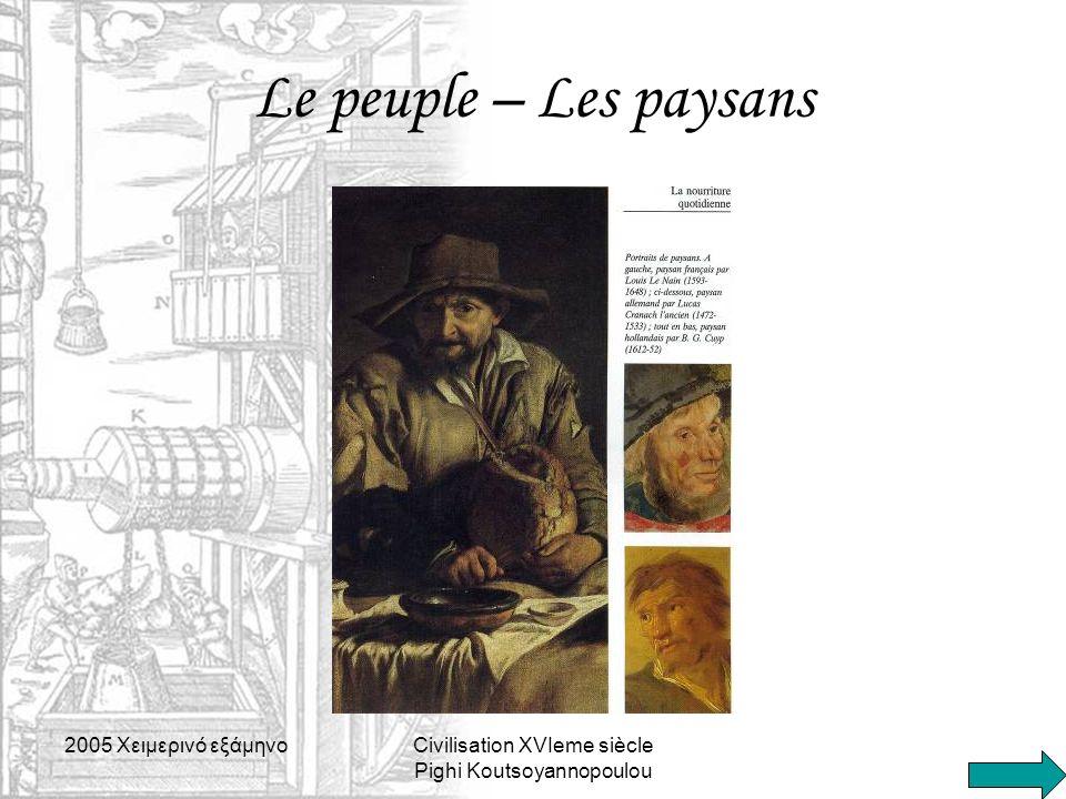 2005 Xειμερινό εξάμηνοCivilisation XVIeme siècle Pighi Koutsoyannopoulou Le peuple – Les paysans