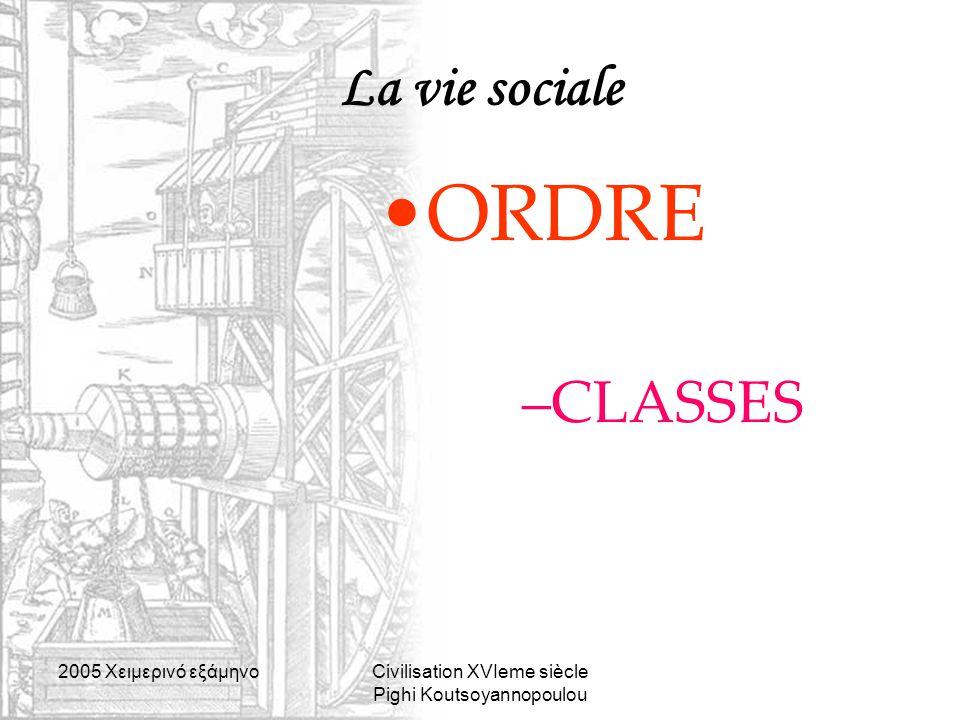 2005 Xειμερινό εξάμηνοCivilisation XVIeme siècle Pighi Koutsoyannopoulou La vie sociale ORDRE –CLASSES