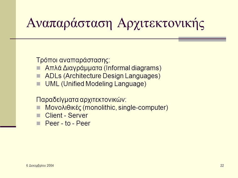 6 Δεκεμβρίου 2004 22 Αναπαράσταση Αρχιτεκτονικής Τρόποι αναπαράστασης: Απλά Διαγράμματα (Informal diagrams) ADLs (Architecture Design Languages) UML (Unified Modeling Language) Παραδείγματα αρχιτεκτονικών: Μονολιθικές (monolithic, single-computer) Client - Server Peer - to - Peer