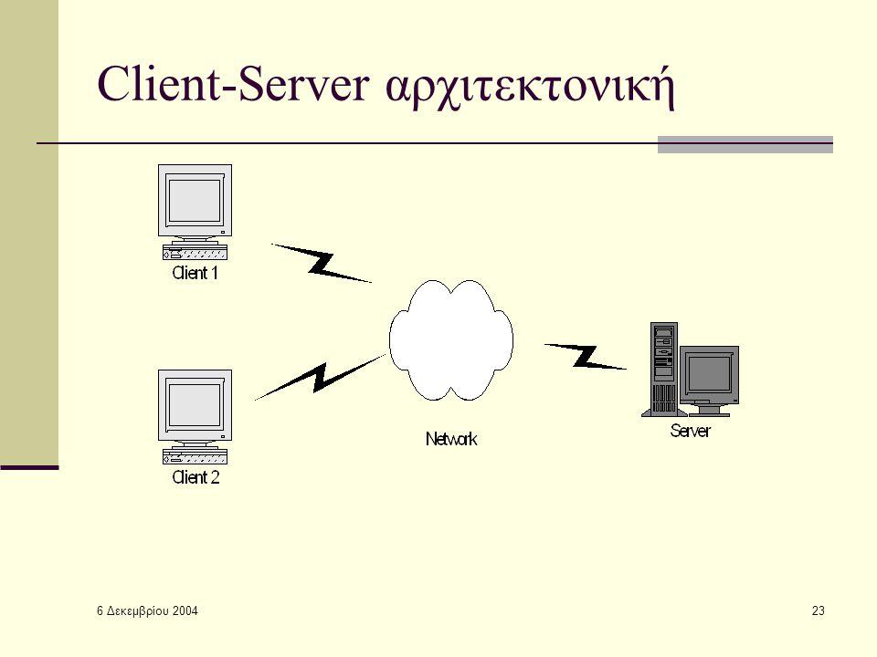 6 Δεκεμβρίου 2004 23 Client-Server αρχιτεκτονική