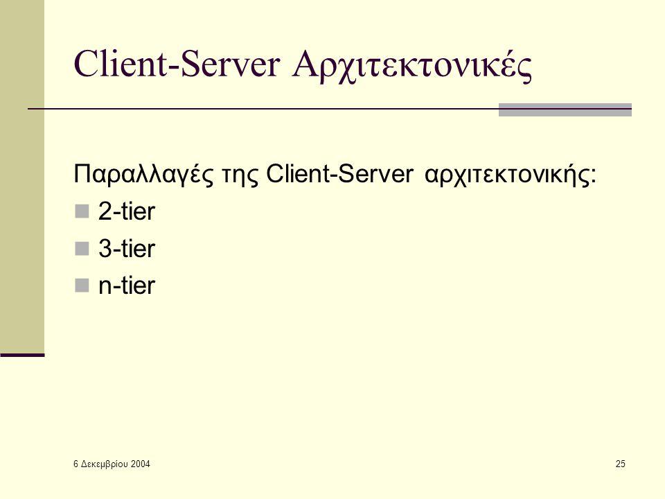 6 Δεκεμβρίου 2004 25 Client-Server Αρχιτεκτονικές Παραλλαγές της Client-Server αρχιτεκτονικής: 2-tier 3-tier n-tier