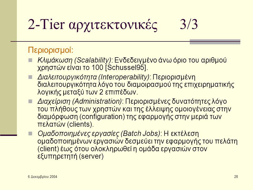 6 Δεκεμβρίου 2004 28 2-Tier αρχιτεκτονικές 3/3 Περιορισμοί: Κλιμάκωση (Scalability): Ενδεδειγμένο άνω όριο του αριθμού χρηστών είναι το 100 [Schussel95].