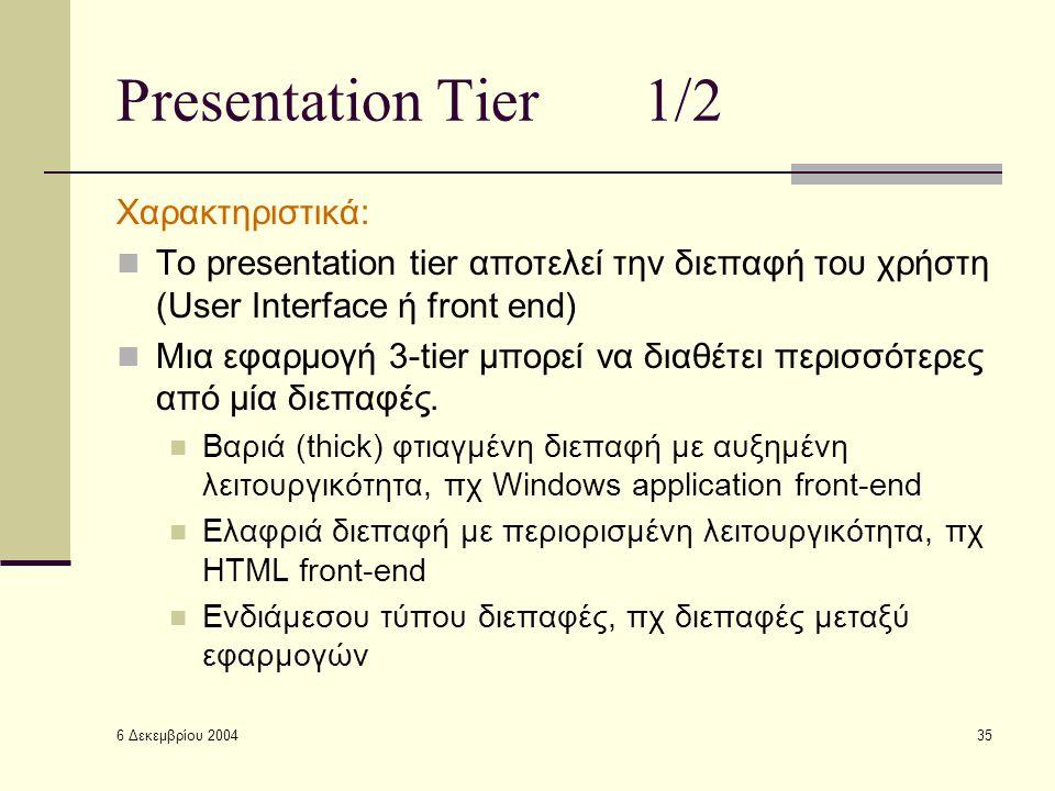 6 Δεκεμβρίου 2004 35 Presentation Tier1/2 Χαρακτηριστικά: Το presentation tier αποτελεί την διεπαφή του χρήστη (User Interface ή front end) Μια εφαρμογή 3-tier μπορεί να διαθέτει περισσότερες από μία διεπαφές.