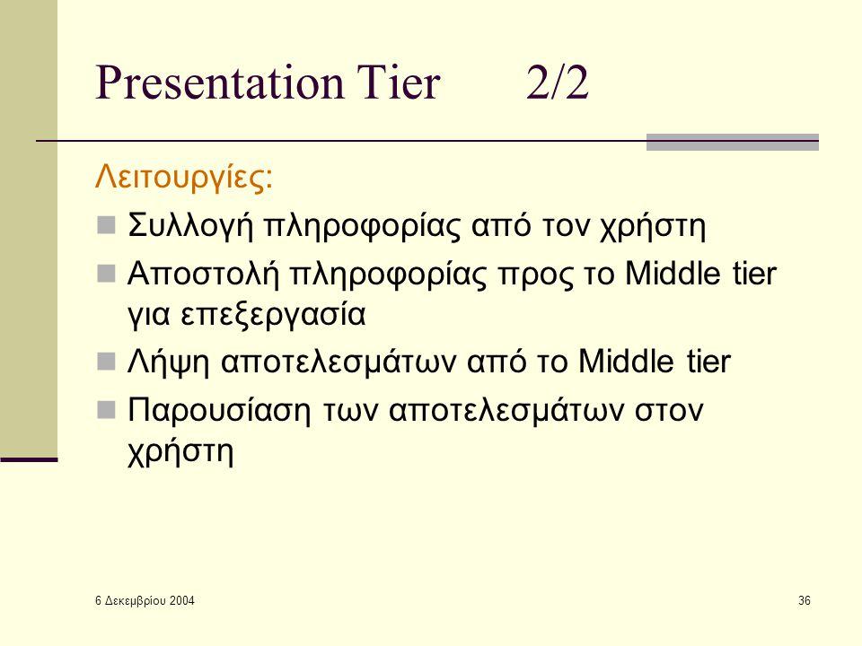 6 Δεκεμβρίου 2004 36 Presentation Tier2/2 Λειτουργίες: Συλλογή πληροφορίας από τον χρήστη Αποστολή πληροφορίας προς το Middle tier για επεξεργασία Λήψη αποτελεσμάτων από το Middle tier Παρουσίαση των αποτελεσμάτων στον χρήστη