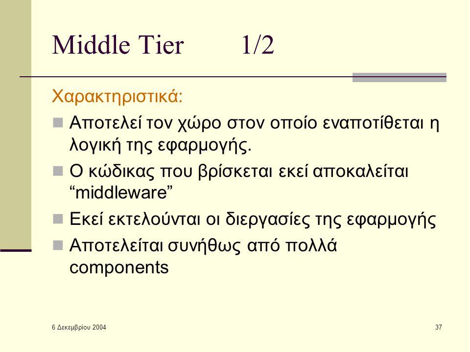 6 Δεκεμβρίου 2004 37 Middle Tier1/2 Χαρακτηριστικά: Αποτελεί τον χώρο στον οποίο εναποτίθεται η λογική της εφαρμογής.