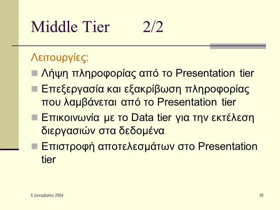 6 Δεκεμβρίου 2004 38 Middle Tier2/2 Λειτουργίες: Λήψη πληροφορίας από το Presentation tier Επεξεργασία και εξακρίβωση πληροφορίας που λαμβάνεται από το Presentation tier Επικοινωνία με το Data tier για την εκτέλεση διεργασιών στα δεδομένα Επιστροφή αποτελεσμάτων στο Presentation tier