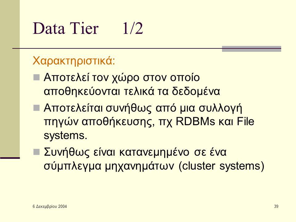6 Δεκεμβρίου 2004 39 Data Tier1/2 Χαρακτηριστικά: Αποτελεί τον χώρο στον οποίο αποθηκεύονται τελικά τα δεδομένα Αποτελείται συνήθως από μια συλλογή πηγών αποθήκευσης, πχ RDBMs και File systems.