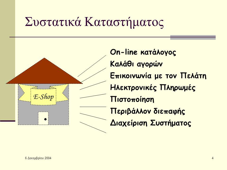 6 Δεκεμβρίου 2004 4 Συστατικά Καταστήματος E-Shop On-line κατάλογος Καλάθι αγορών Επικοινωνία με τον Πελάτη Ηλεκτρονικές Πληρωμές Πιστοποίηση Περιβάλλον διεπαφής Διαχείριση Συστήματος