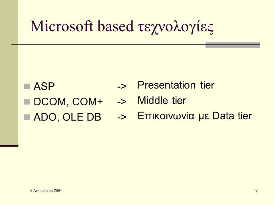6 Δεκεμβρίου 2004 47 Microsoft based τεχνολογίες ASP -> DCOM, COM+ -> ADO, OLE DB -> Presentation tier Middle tier Επικοινωνία με Data tier