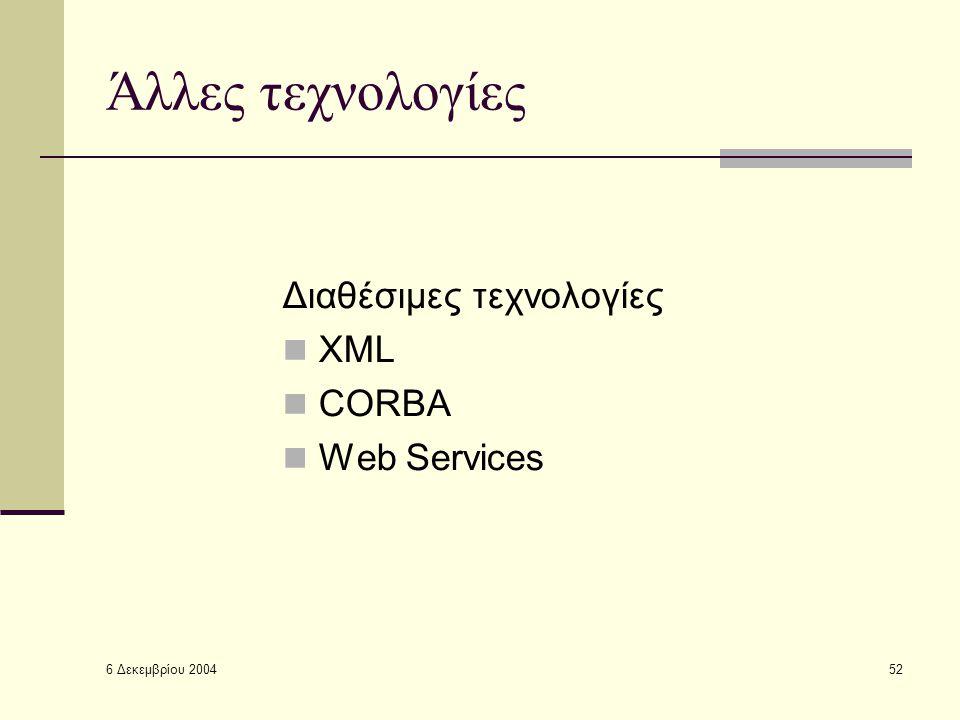 6 Δεκεμβρίου 2004 52 Άλλες τεχνολογίες Διαθέσιμες τεχνολογίες XML CORBA Web Services
