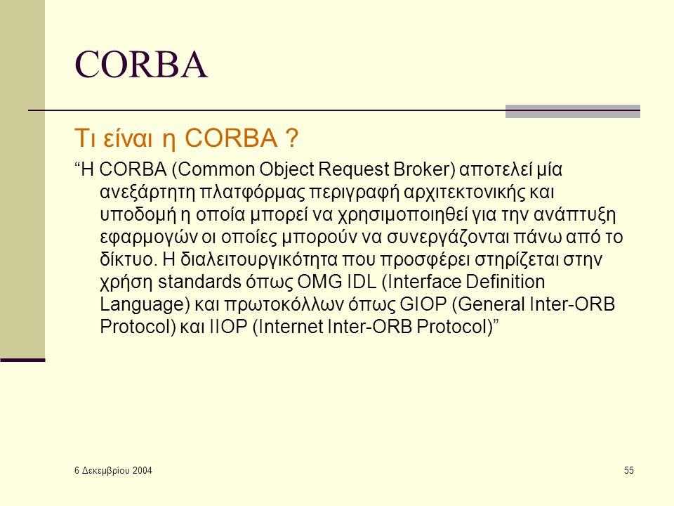 6 Δεκεμβρίου 2004 55 CORBA Τι είναι η CORBA .