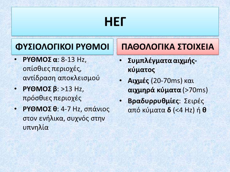 ΡΥΘΜΟΣ α: 8-13 Hz, οπίσθιες περιοχές, αντίδραση αποκλεισμού ΡΥΘΜΟΣ β: >13 Hz, πρόσθιες περιοχές ΡΥΘΜΟΣ θ: 4-7 Hz, σπάνιος στον ενήλικα, συχνός στην υπ