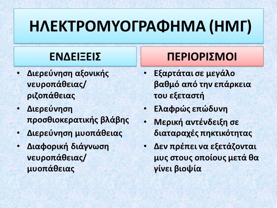 Διερεύνηση αξονικής νευροπάθειας/ ριζοπάθειας Διερεύνηση προσθιοκερατικής βλάβης Διερεύνηση μυοπάθειας Διαφορική διάγνωση νευροπάθειας/ μυοπάθειας Εξα