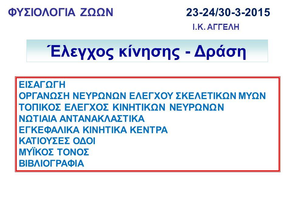 ΦΥΣΙΟΛΟΓΙΑ ΖΩΩΝ 23-24/30-3-2015 Ι.Κ.