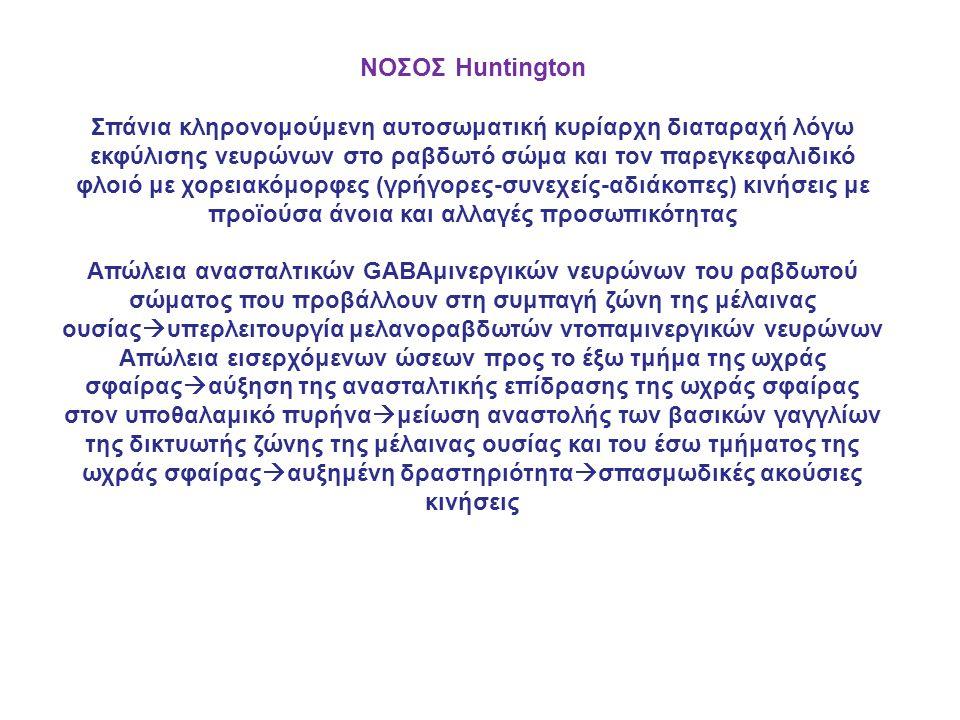ΝΟΣΟΣ Huntington Σπάνια κληρονομούμενη αυτοσωματική κυρίαρχη διαταραχή λόγω εκφύλισης νευρώνων στο ραβδωτό σώμα και τον παρεγκεφαλιδικό φλοιό με χορειακόμορφες (γρήγορες-συνεχείς-αδιάκοπες) κινήσεις με προϊούσα άνοια και αλλαγές προσωπικότητας Απώλεια ανασταλτικών GABAμινεργικών νευρώνων του ραβδωτού σώματος που προβάλλουν στη συμπαγή ζώνη της μέλαινας ουσίας  υπερλειτουργία μελανοραβδωτών ντοπαμινεργικών νευρώνων Απώλεια εισερχόμενων ώσεων προς το έξω τμήμα της ωχράς σφαίρας  αύξηση της ανασταλτικής επίδρασης της ωχράς σφαίρας στον υποθαλαμικό πυρήνα  μείωση αναστολής των βασικών γαγγλίων της δικτυωτής ζώνης της μέλαινας ουσίας και του έσω τμήματος της ωχράς σφαίρας  αυξημένη δραστηριότητα  σπασμωδικές ακούσιες κινήσεις
