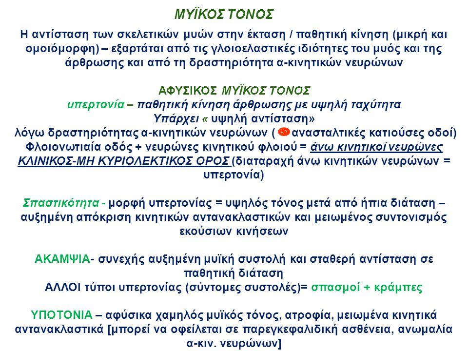 ΜΥΪΚΟΣ ΤΟΝΟΣ Η αντίσταση των σκελετικών μυών στην έκταση / παθητική κίνηση (μικρή και ομοιόμορφη) – εξαρτάται από τις γλοιοελαστικές ιδιότητες του μυός και της άρθρωσης και από τη δραστηριότητα α-κινητικών νευρώνων ΑΦΥΣΙΚΟΣ ΜΥΪΚΟΣ ΤΟΝΟΣ υπερτονία – παθητική κίνηση άρθρωσης με υψηλή ταχύτητα Υπάρχει « υψηλή αντίσταση» λόγω δραστηριότητας α-κινητικών νευρώνων ( ανασταλτικές κατιούσες οδοί) Φλοιονωτιαία οδός + νευρώνες κινητικού φλοιού = άνω κινητικοί νευρώνες ΚΛΙΝΙΚΟΣ-ΜΗ ΚΥΡΙΟΛΕΚΤΙΚΟΣ ΟΡΟΣ (διαταραχή άνω κινητικών νευρώνων = υπερτονία) Σπαστικότητα - μορφή υπερτονίας = υψηλός τόνος μετά από ήπια διάταση – αυξημένη απόκριση κινητικών αντανακλαστικών και μειωμένος συντονισμός εκούσιων κινήσεων ΑΚΑΜΨΙΑ- συνεχής αυξημένη μυϊκή συστολή και σταθερή αντίσταση σε παθητική διάταση ΑΛΛΟΙ τύποι υπερτονίας (σύντομες συστολές)= σπασμοί + κράμπες ΥΠΟΤΟΝΙΑ – αφύσικα χαμηλός μυϊκός τόνος, ατροφία, μειωμένα κινητικά αντανακλαστικά [μπορεί να οφείλεται σε παρεγκεφαλιδική ασθένεια, ανωμαλία α-κιν.