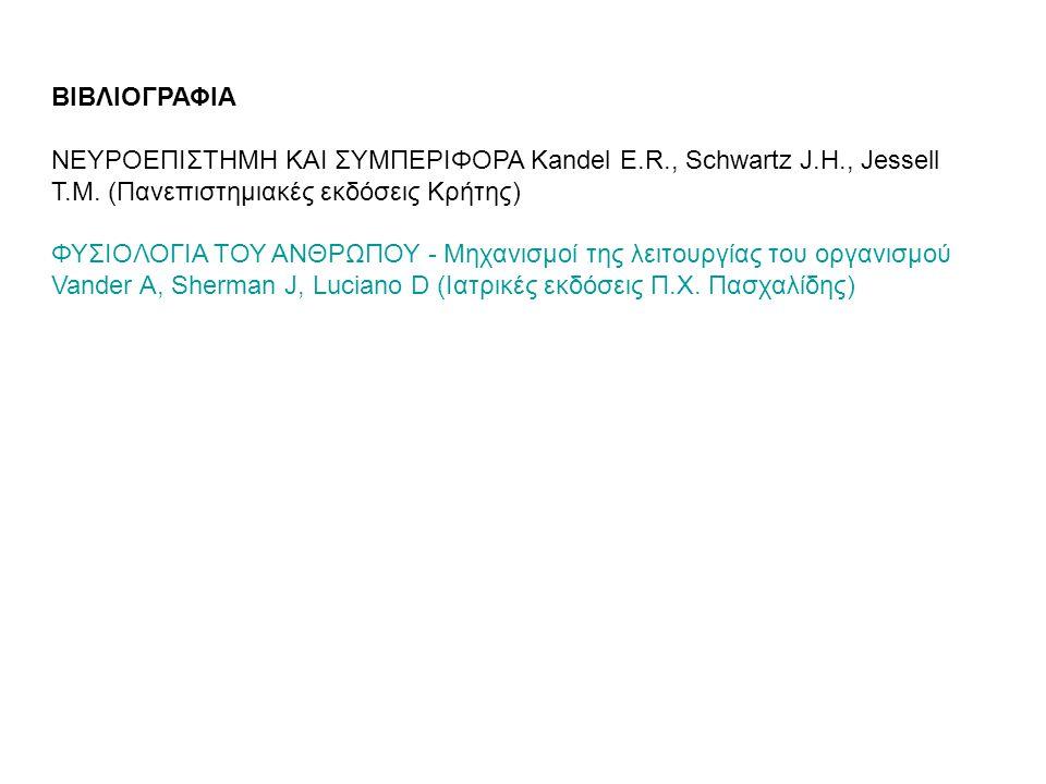 ΒΙΒΛΙΟΓΡΑΦΙΑ ΝΕΥΡΟΕΠΙΣΤΗΜΗ ΚΑΙ ΣΥΜΠΕΡΙΦΟΡΑ Kandel E.R., Schwartz J.H., Jessell T.M. (Πανεπιστημιακές εκδόσεις Κρήτης) ΦΥΣΙΟΛΟΓΙΑ ΤΟΥ ΑΝΘΡΩΠΟΥ - Μηχανι