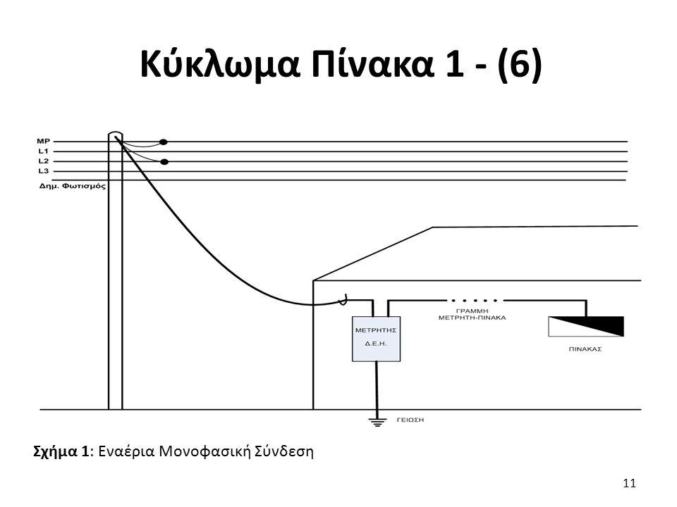 Κύκλωμα Πίνακα 1 - (6) 11 Σχήμα 1: Εναέρια Μονοφασική Σύνδεση