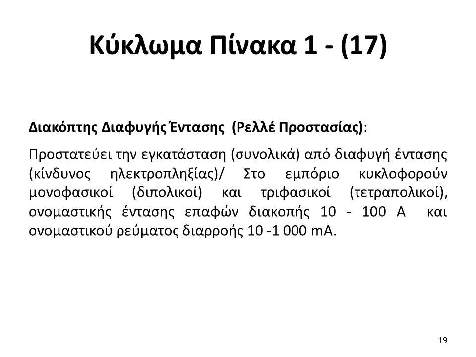Κύκλωμα Πίνακα 1 - (17) Διακόπτης Διαφυγής Έντασης (Ρελλέ Προστασίας): Προστατεύει την εγκατάσταση (συνολικά) από διαφυγή έντασης (κίνδυνος ηλεκτροπλη