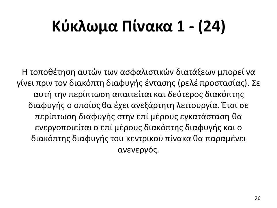 Κύκλωμα Πίνακα 1 - (24) Η τοποθέτηση αυτών των ασφαλιστικών διατάξεων μπορεί να γίνει πριν τον διακόπτη διαφυγής έντασης (ρελέ προστασίας). Σε αυτή τη