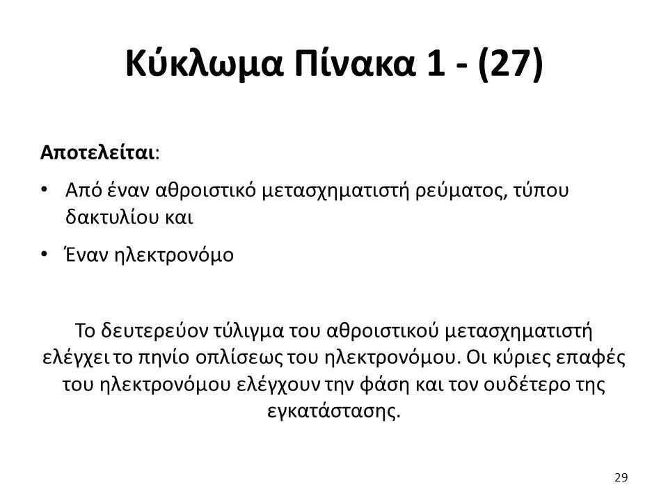 Κύκλωμα Πίνακα 1 - (27) Αποτελείται: Από έναν αθροιστικό μετασχηματιστή ρεύματος, τύπου δακτυλίου και Έναν ηλεκτρονόμο Το δευτερεύον τύλιγμα του αθροι