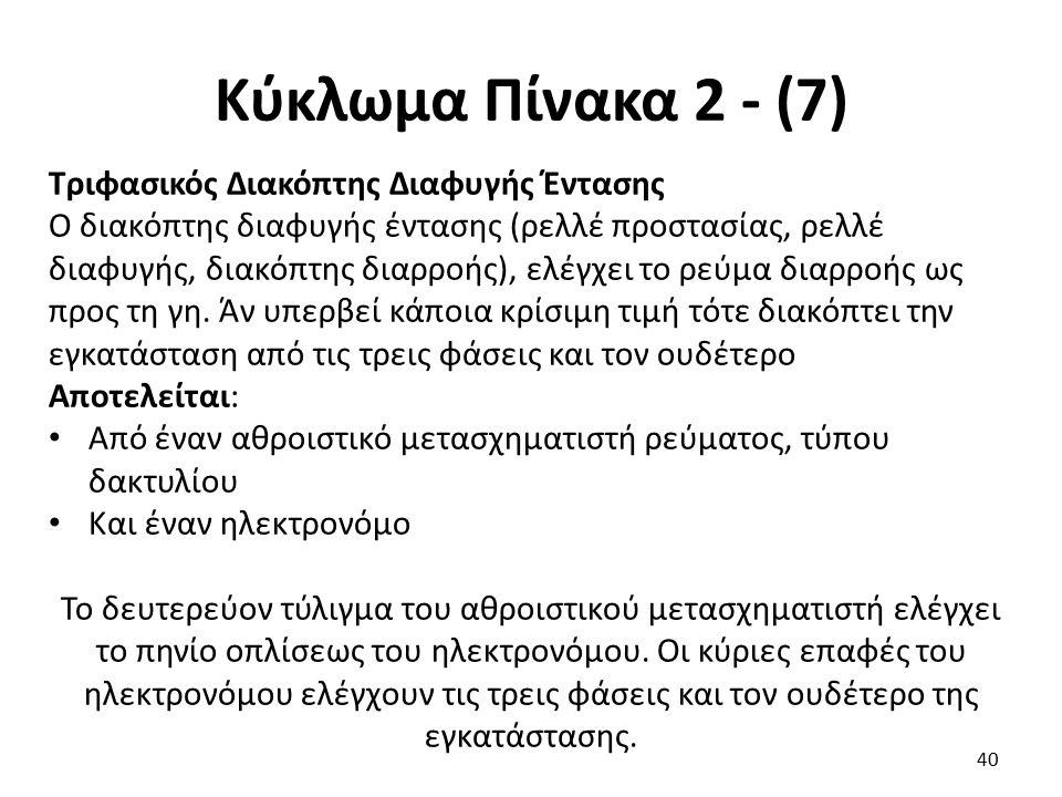 Κύκλωμα Πίνακα 2 - (7) Τριφασικός Διακόπτης Διαφυγής Έντασης Ο διακόπτης διαφυγής έντασης (ρελλέ προστασίας, ρελλέ διαφυγής, διακόπτης διαρροής), ελέγ